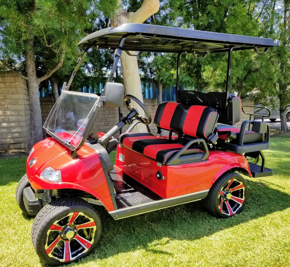 2021 Evolution Classic 4 PLUS AC - Electric 48V Golf Cart 2 Passenger  - CANDY APPLE RED
