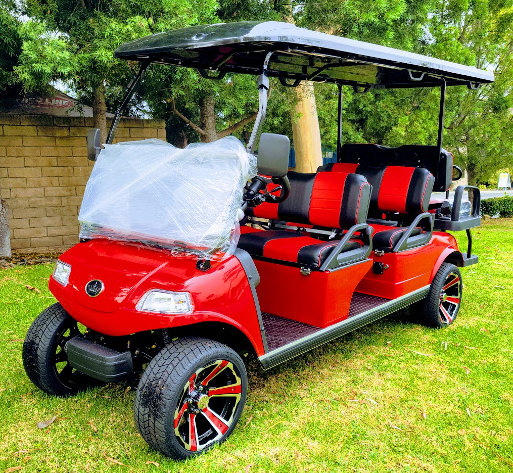 2021 Evolution Carrier 6 AC PLUS AC - Electric 48V Golf Cart 6 Passenger  - RED